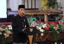 Presiden Jokowi saat memberikan sambutan dalam satu acara.