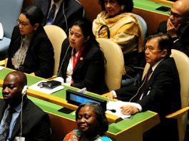 Wakil Presiden Jusuf Kalla didamping Menko PMK Puan Maharani dan Menlu Retno Marsudi menghadiri pembukaan Sidang Umum PBB di New York, Amerika Serikat, Selasa (19/9/2017) waktu AS