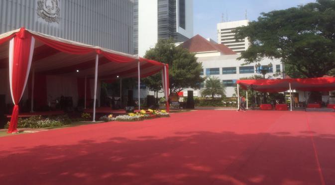 Suasana Balai Kota DKI Jakarta jelang pelantikan Anies - Sandi.