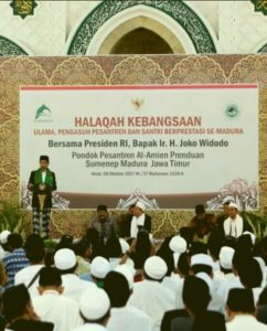 Presiden RI Ir.H. Joko Widodo Saat Memberikan Sambutan Dalam Acara Halaqah Kebangsaan Bersama Ulama se-Madura di Ponpes Al-Amien Prenduan Sumenep, Minggu (8/10/2017) Siang.