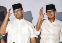 Anis Baswedan dan Sandiaga Uno pasangan Gubernur dan wakil Gubernur DKI Jakarta terpilih.