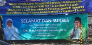 Spanduk Ucapan selamat dari Khofifah kepada Cak Imin di Kampus C Unair Surabaya, tadi pagi.
