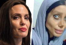 Angelina Jolie (kiri) dan Sahar Tabar (kanan).