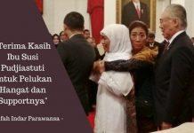 Momen perpisahan, Menteri Pudjiastuti memeluk Khofifah Indar Parawansa dari belakang di Istana Negara usai Reshuffle