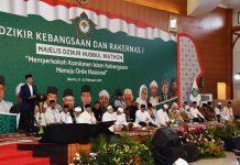 Jokowi Presiden bersama para ulama di Rapat Kerja Nasional (Rakernas) ke-1 Pengurus Besar Majelis Dzikir Hubbul Wathon, Rabu (21/2/2018) di Asrama Haji Pondok Gede, Jakarta.
