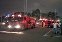 Kebakaran kembali terjadi di Gedung Nusantara III, Kompleks Parlemen, Senayan, Jakarta, 19 Maret 2018. Lima unit mobil pemadam kebakaran diturunkan.