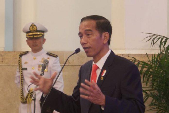Presiden Jokowidodo Saat Berpidato di Istana Merdeka