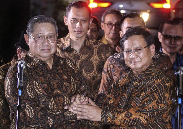 Ketua Umum Partai Gerindra Prabowo Subianto dan Ketua Umum Partai Demokrat Susilo Bambang Yudhoyono