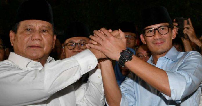 Prabowo Subianto bersama Sandiaga Uno.
