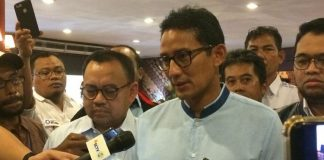 Direktur materi dan debat Badan Pemenangan Nasional (BPN), Sudirman Said dan Sandiaga Uno.
