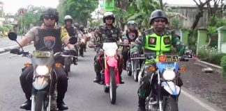 Dandim 0821 dan Kapolres Lumajang memimpin pelaksanaan patroli bersama.