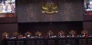 Sidang perdana sengketa hasil Pilpres 2019 di Gedung Mahkamah Konstitusi, Jalan Medan Merdeka Barat, Jakarta.