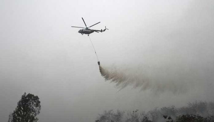 Heli dan Pesawat Dikerahkan Cegah Karhutla di Riau.