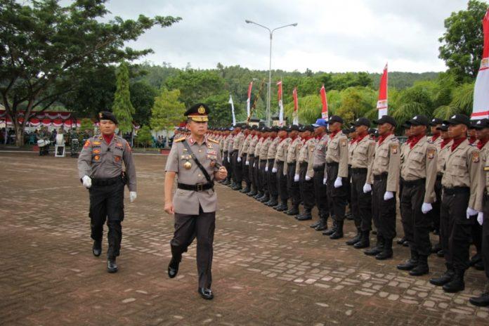 Polda Maluku Utara saat upacara SPN Polda Malut di Sofif