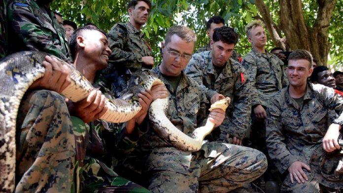 Marinir TNI AL Ajari Cara Bertahan Hidup Kepada Marinir AS.