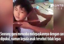 Viral, Leher Murid SD Terjepit Bangku Sekolah.