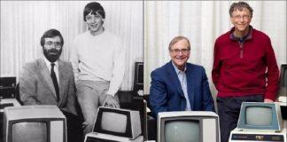 Paul Allen dan Bill Gates saat 1981 dan 2013.