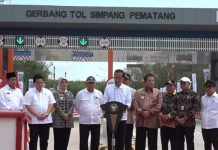 Presiden Joko Widodo resmikan Tol Trans Sumatera Ruas Terbanggi Besar - Pematang Panggang - Kayu Agung.