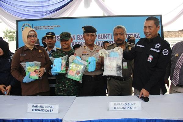 BNNP Jatim Musnahkan Barang Bukti Sitaan Narkoba.