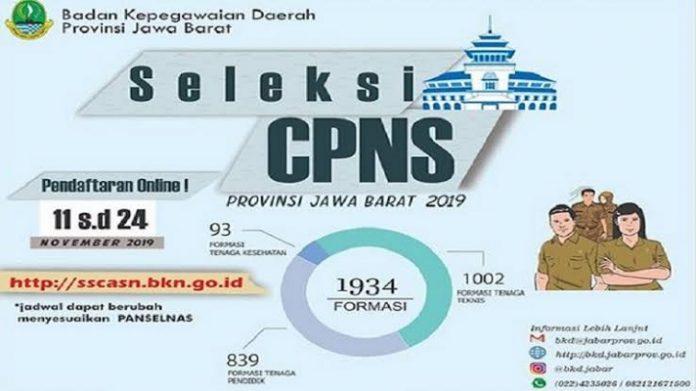 Pemprov Jabar Buka Pendaftaran CPNS 2019 untuk 1.934 Formasi.