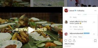 Presiden Joko Widodomengunggah video wisata kuliner di Bogor.