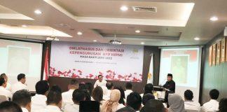Pendiri HIPMI H Abdul Latief saat memberikan materi di Diklatnassus calon pengurus BPP HIPMI 2019-2022 di Sahid Sudirman Centre, Jakarta, (13/1/2020).