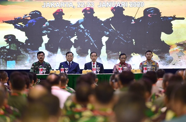 Presiden Jokowi saat memberikan arahan dalam Rapat Pimpinan Kementerian Pertahanan, TNI, dan Polri Tahun 2020.