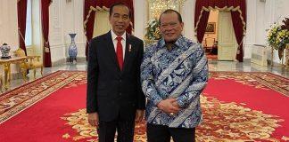 Ketua DPD RI AA LaNyalla Mahmud Mattalitti menemui Presiden RI Joko Widodo (Jokowi) di Istana Merdeka, Jakarta, Kamis (23/1/2020) pagi.