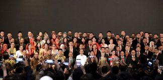 Presiden Joko Widodo memberikan sambutan saat menghadiri acara pelantikan BPP Hipmi di Raffles Hotel, Jakarta, pada Rabu, 15 Januari 2020.