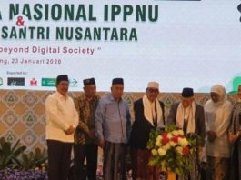 Wakil Presiden KH Ma ruf Amin saat membuka Rakernas Ikatan Pelajar Putri Nahdlatul Ulama (IPPNU) dan Gelar Karya Santri Nusantara, Santri Digital Fest, di Pesantren Bahrul Ulum Tambakberas, Jombang, Jawa Timur.