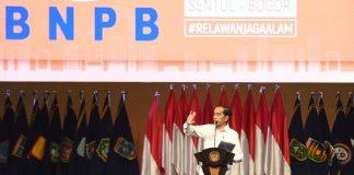 Presiden Joko Widodo dalam acara Rapat Koordinasi Nasional Penanggulangan Bencana Tahun 2020 di Sentul International Convention Center, Kabupaten Bogor, pada Selasa, 4 Februari 2020.