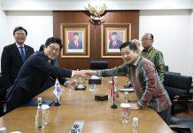 Kunjungan Menteri Lingkungan Hidup Korea Selatan Cho Myung-Rae di Istana Merdeka, Jakarta.