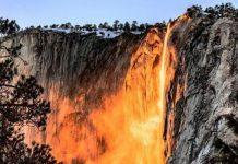 Firefall atau air terjun api yang berada di Taman Nasional Yosemite, California, Amerika Serikat.