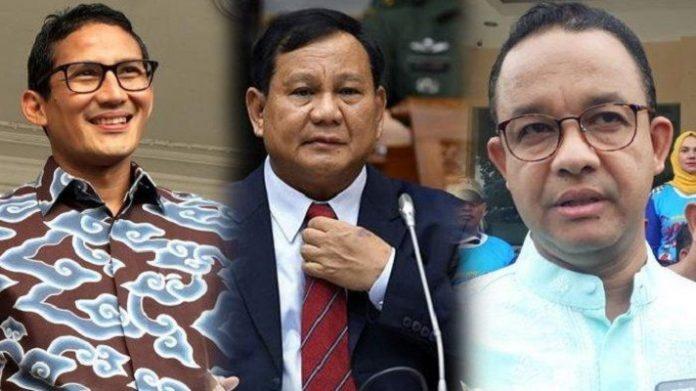 Sandiaga Uno, Prabowo Subianto dan Anies Baswedan.