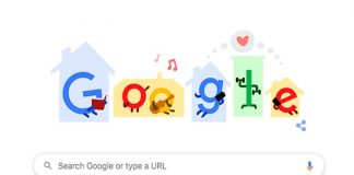 Google Doodle Bertema Stay Home Save Live.