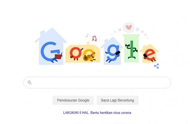 Google Doodle Ajak Aktivitas di Rumah untuk Stop Penyebaran Covid-19.