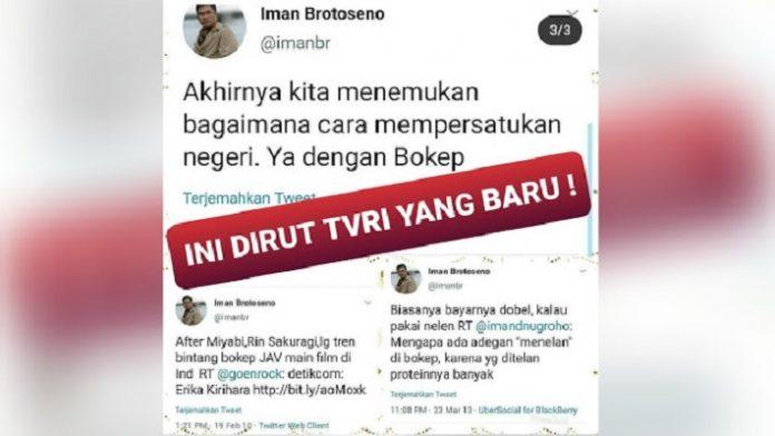 Trending #BoikotTVRI, Dipicu Kicauan Dirut Iman Brotoseno Soal Bokep.