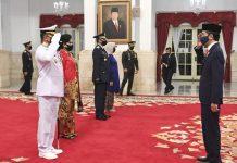 Presiden Joko Widodo (Jokowi) melantik Laksda Yudo Margono sebagai Kepala Staf Angkatan laut (Kasal) dan Marsdya Fadjar Prasetyo sebagai Kepala Staf TNI Angkatan Udara (Kasau).