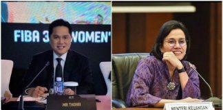 Menteri Badan Usaha Milik Negara (BUMN) Erick Thohir dan Menteri Keuangan (Menkeu) Sri Mulyani Indrawati.