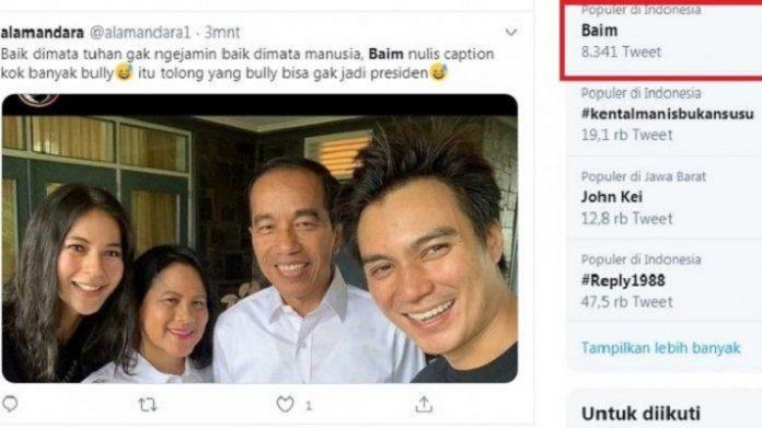 Baim Wong Dibully Gegara Sebut Jokowi Presiden Terbaik.