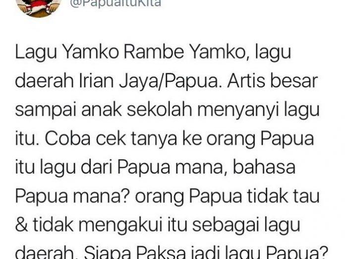 Tangkapan layar cuitan soal lagu Yamko Rambe Yamko