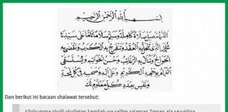 Bacaan Sholawat Nariyah.