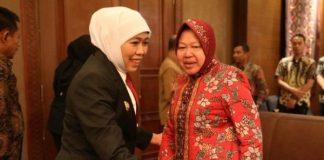 Gubernur Jatim Khofifah Indar Parawansadan Wali Kota Surabaya,Tri Rismaharini (Risma).