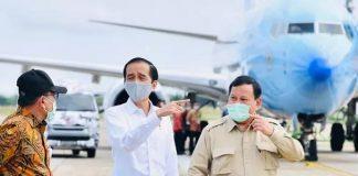 Jokowi dan Prabowo Naik Helikopter Merah Putih saat Kunker ke Kapuas.