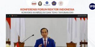 Presiden Joko Widodo (Jokowi) resmi membuka Konferensi Forum Rektor Indonesia (FRI) virtual 2020.