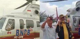 Viral, Petinggi Golkar ke Musda Naik Helikopter BNPB.