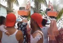 Viral, Video Rumah Istri Muda Dibuldoser Istri Tua.