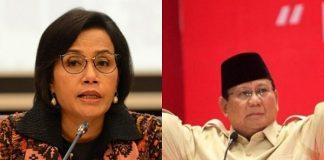 Menteri Keuangan (Menkeu) Sri Mulyani dan Menteri Pertahanan Prabowo Subianto.
