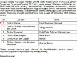 Menteri Erick Rombak Jajaran Direksi di PT Pos Indonesia.