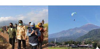 Gubernur Jatim Khofifah Indar Parawansa meluncurkan destinasi wisata baru paralayang dan agrowisata di Desa Trawas, Kabupaten Mojokerto.